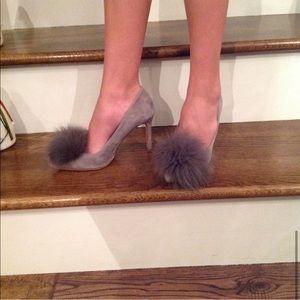 Gianni Bini Suede Fox Fur Pom Pom Pumps